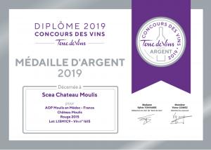 medaille argent chateau moulis 2015 concours des vins terre de vins 2019